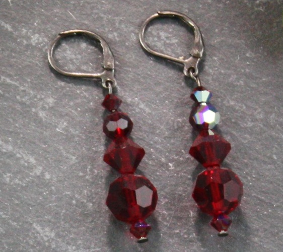 Audrey Dark Siam Red Earrings